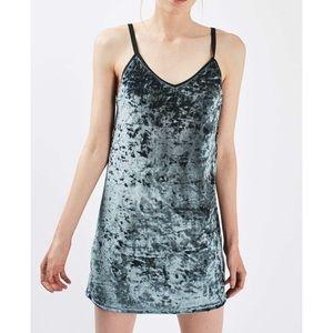 Topshop Crushed Blue Velvet Slip Dress NWOT